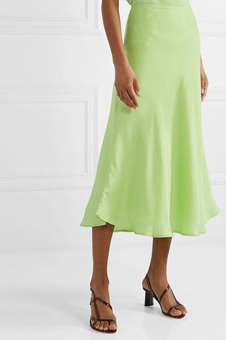 + NET SUSTAIN Where I Want to Be silk-satin midi skirt