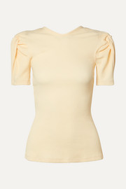 Sweet Like Honey knotted cutout ribbed stretch cotton-jersey top