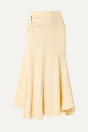 + NET SUSTAIN Honey Ain't Home knotted ribbed stretch-cotton jersey midi skirt