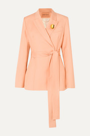 + NET SUSTAIN Just Getting Started belted organic wool-twill blazer