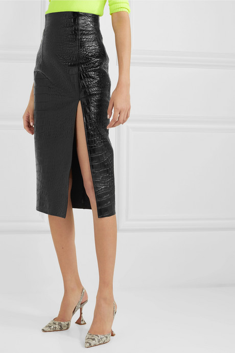 Lipton croc-effect glossed-leather midi skirt