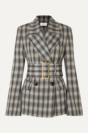 16ARLINGTON Jaclyn belted double-breasted checked crepe blazer