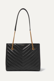 SAINT LAURENT Tribeca small quilted textured-leather tote