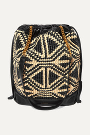 SAINT LAURENT Teddy raffia and leather bucket bag