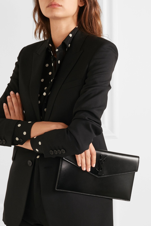 SAINT LAURENT Uptown medium glossed-leather tote