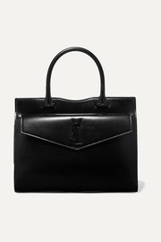 Uptown medium glossed-leather tote