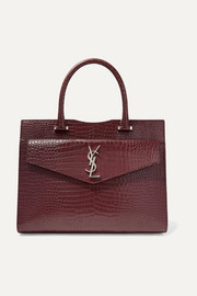 Uptown medium croc-effect leather tote