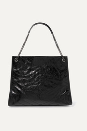 Niki large quilted crinkled glossed-leather tote