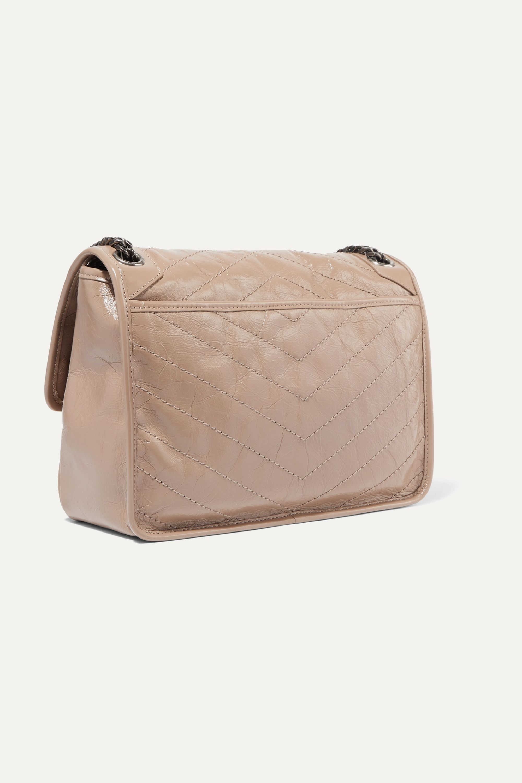 SAINT LAURENT Niki medium quilted crinkled glossed-leather shoulder bag