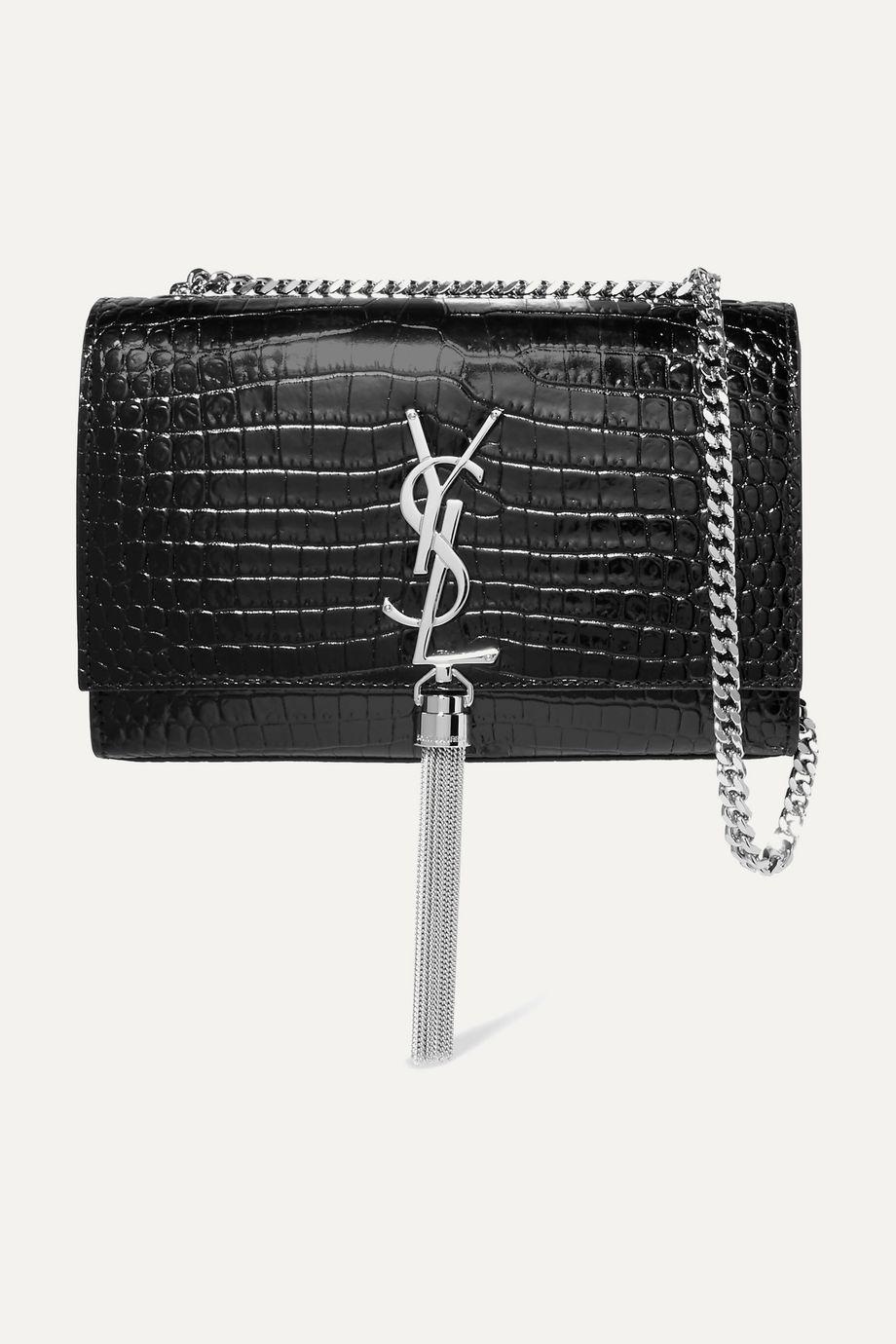 SAINT LAURENT Kate croc-effect leather shoulder bag