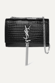 SAINT LAURENT Kate croc-effect leather shoulder bag
