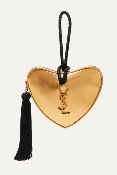 Coeur Metallic Leather Clutch by Saint Laurent