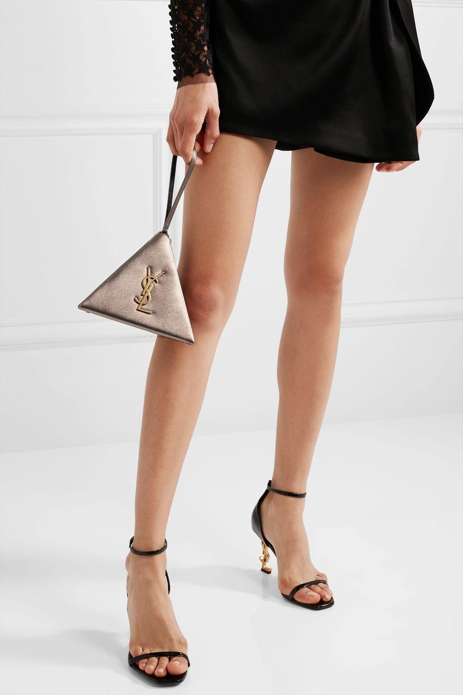 SAINT LAURENT Pyramid metallic leather clutch