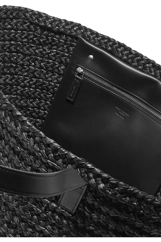 SAINT LAURENT Panier medium leather-trimmed raffia tote