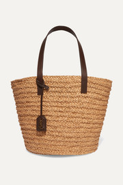 Panier medium leather-trimmed raffia tote