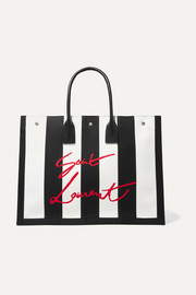 SAINT LAURENT Noe leather-trimmed embroidered striped canvas tote