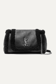 SAINT LAURENT Nolita medium textured-leather and shearling shoulder bag