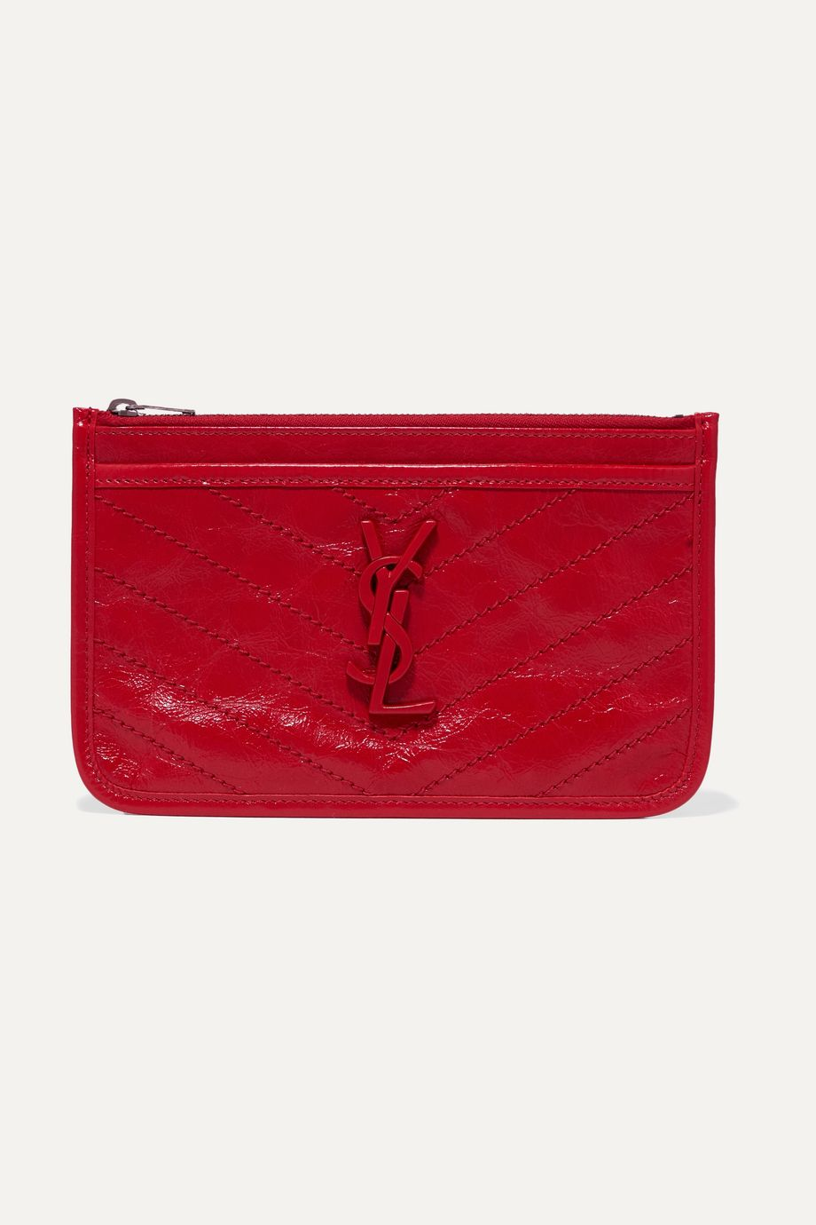SAINT LAURENT Niki quilted crinkled glossed-leather pouch