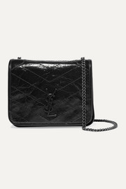 SAINT LAURENT Niki quilted crinkled glossed-leather shoulder bag