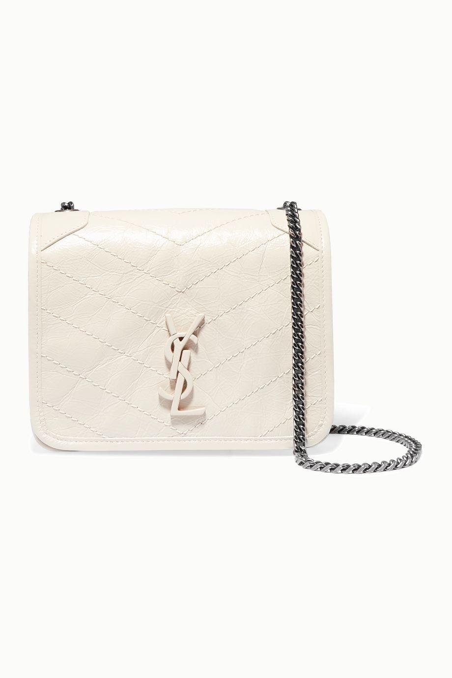 SAINT LAURENT Niki quilted crinkled-leather shoulder bag