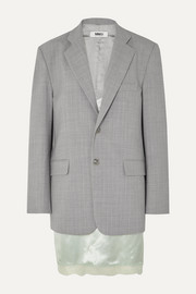 MM6 Maison Margiela Layered lace-trimmed satin and woven blazer