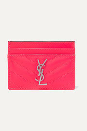 SAINT LAURENT Monogramme quilted neon textured-leather cardholder