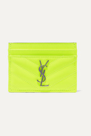 Monogramme quilted neon textured-leather cardholder