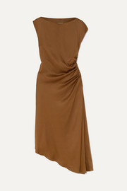 MM6 Maison Margiela Asymmetric ruched satin midi dress