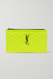 Monogramme neon quilted textured-leather pouch