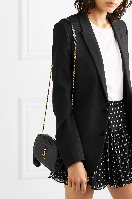 Black Lou Mini Quilted Textured Leather Shoulder Bag Saint Laurent Net A Porter