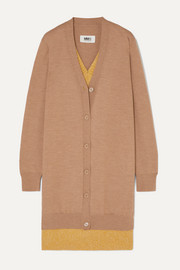 MM6 Maison Margiela Oversized layered wool-blend cardigan