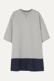 MM6 Maison Margiela Oversized cotton-jersey and pinstriped crepe mini dress