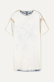 MM6 Maison Margiela Distressed printed bleached denim mini dress