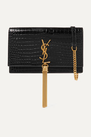 SAINT LAURENT Kate small croc-effect patent-leather shoulder bag