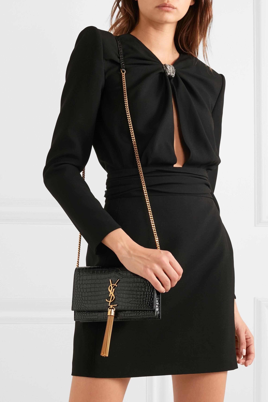 SAINT LAURENT Kate small croc-effect patent-leather shoulder bag