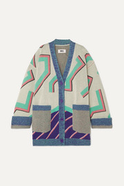 MM6 Maison Margiela Oversized wool-blend jacquard cardigan