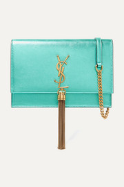Kate small metallic textured-leather shoulder bag