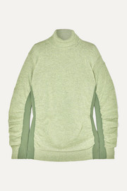 MM6 Maison Margiela Paneled ruched wool-blend turtleneck sweater