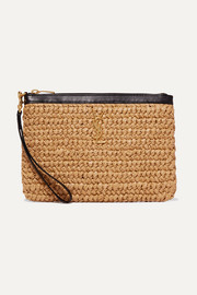 Pannier leather-trimmed raffia pouch