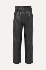 MM6 Maison Margiela Belted leather straight-leg pants