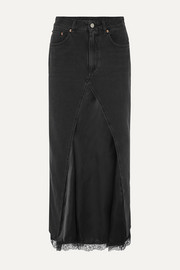 MM6 Maison Margiela Layered lace-trimmed satin and denim midi skirt