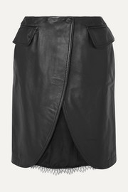 MM6 Maison Margiela Satin and lace-trimmed leather skirt