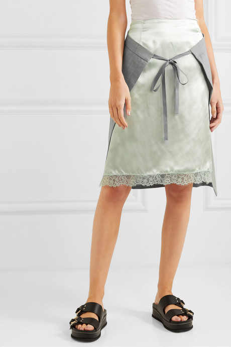 Layered lace-trimmed satin and woven skirt