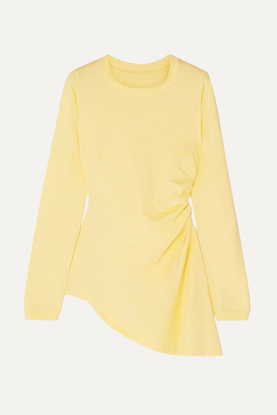 MM6 Maison Margiela Asymmetric ruched cotton-jersey top