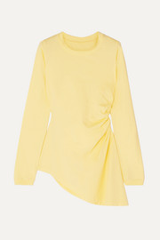 MM6 Maison Margiela Asymmetric ruched cotton-jersey top