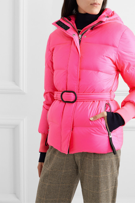 Hooded quilted neon shell down jacket