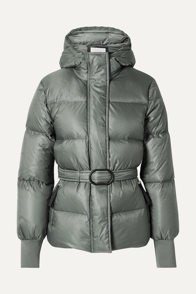 Kenzo Belted Quilted Shell Down Jacket In 49 Green