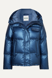 Hooded metallic quilted shell down jacket