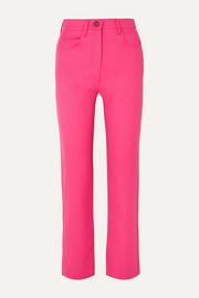 Cropped wool-blend gabardine straight-leg pants
