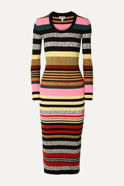 Striped ribbed-knit midi dress